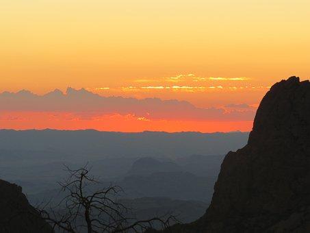 Sunset, Mountains, Landscape, Rock, Evening