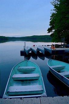 Row Boat, Canoes, Dock, Lake, Reflection, Water, Nature