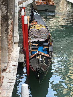 Venice, Gondola, Channel, Italy, Water, Boats