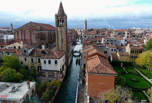 Venice, Italy, Bell Tower, Channel, Docks, Architecture