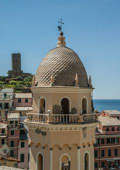 Italy, Cinque Terre, Vernazza, Bell Tower, Architecture
