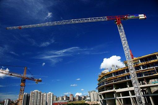 Construction, Crane, Blue, Building, Structure