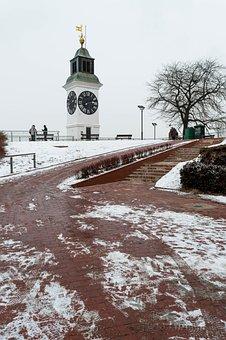 Novi, Sad, Petrovaradin, Fortress, Clock, Tower, Winter