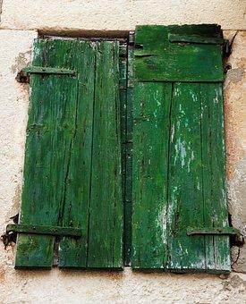 Old, Window, Doors, Shutters, Wooden, Building, Green