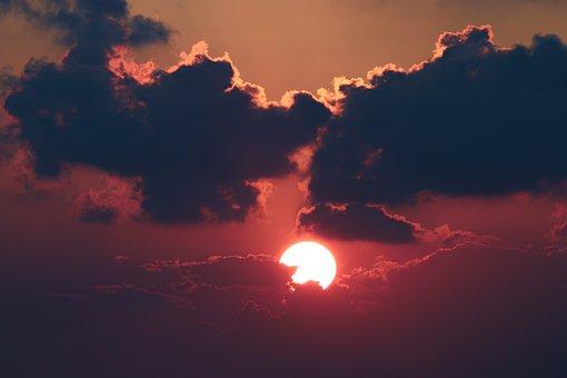 Sunset, Cloud, Solar, Sky, Landscape, Dark, Clouds