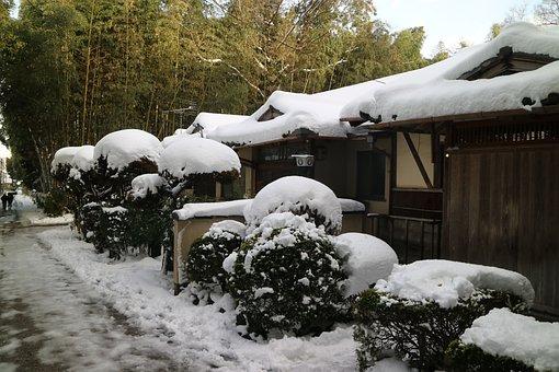 Snow, Lanshan, Log Cabin