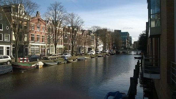 Amsterdam, Channel, Bridge, Boats, March