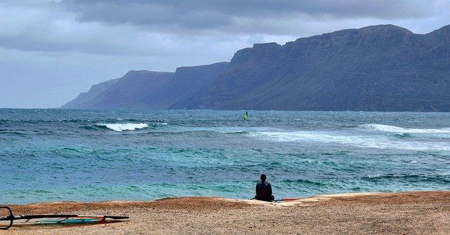 Surfer, Surfing, Lanzarote, Beach, Water, Ocean, Surf