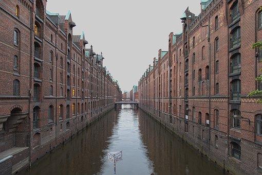Hamburg, Speicherstadt, Water, River, Channel, Homes