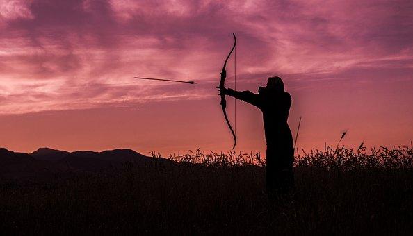 Archer, Archery, Sunset, Arrow, Bow, Target, Aiming