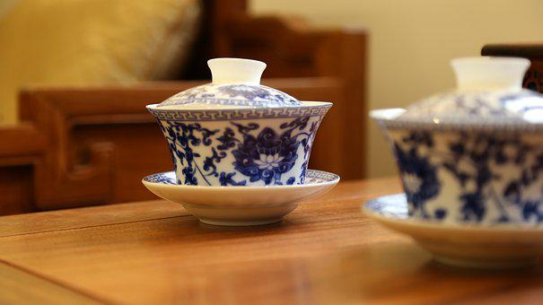 Tea Cup, Chinese Style, Blue And White Porcelain