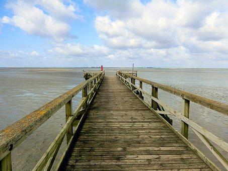 Sea, Watts, Web, North Sea, Wadden Sea, Ebb, Boardwalk