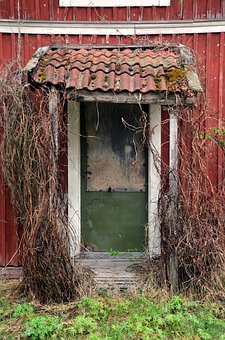 Old, Door, Red, Summer, Antique, House, Abandoned