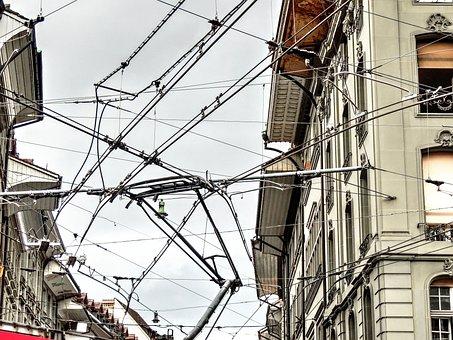 Flow, Electricity, High Voltage, Wires, Pantograph