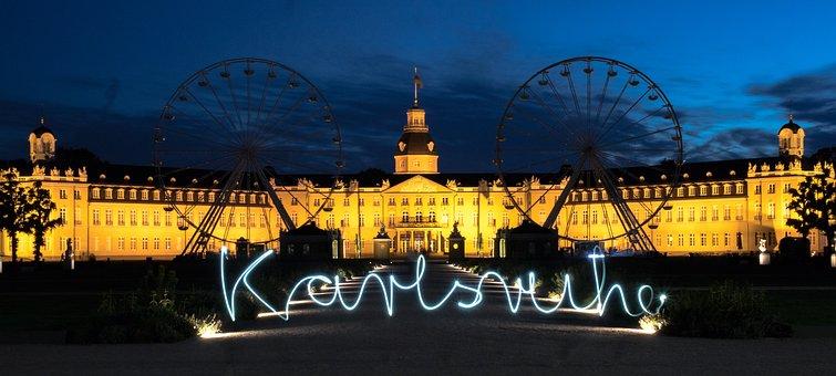 Karlsruhe, Castle, Lettering, Blue Hour, Abendstimmung
