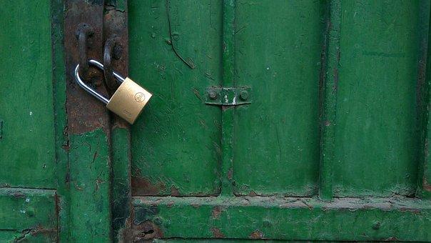 Padlock, Puerta Metalica, Green, Metal, Security, Oxide