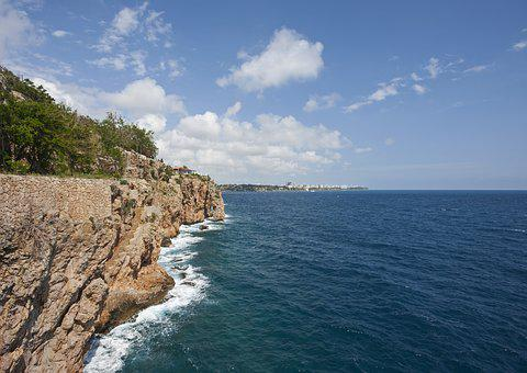 Rocky, Cliff, Waves, Peace, Stone, Water, Blue, Beach