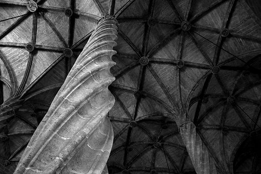 Column, Ceiling, Church, Cloister, Cathedral, Chapel