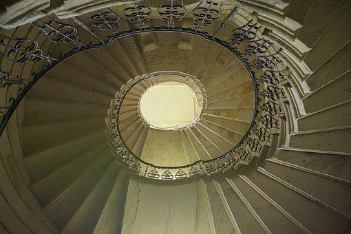 Staircase, Circular, Curve, Design, Stairway, Stone