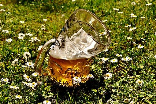 Beer, Beer Glass, Deformed, Bent, Funny, Beer Garden
