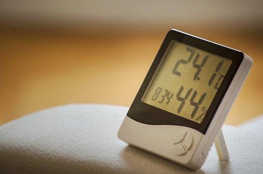 Time Of, Clock, Humidity, Air, Hygrometer, Temperature
