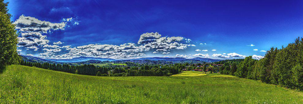Panorama, Bavarian Forest, Forest, Nature, Sky