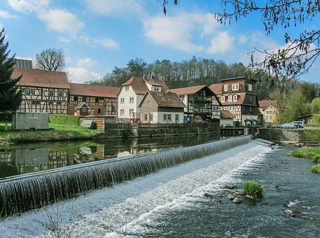 Weir, Water, Thuringia Germany, River, Murmur