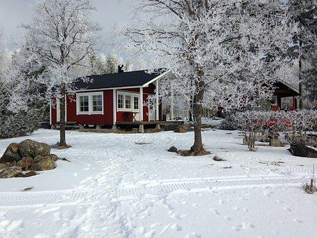 Winter, Frost, Cottage, Snow, Nature