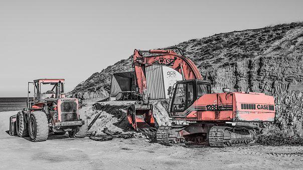 Heavy Machines, Bulldozer, Digger, Construction Site