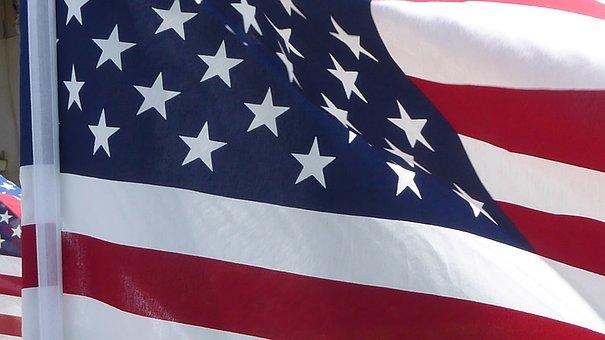 American Flag, Unfurled, Flying, Wind, Stars, Stripes