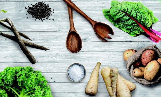 Vegetables, Chard, Salsify, Kale, Potatoes, Salt