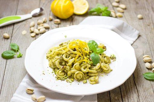 Pasta, Noodles, Pesto, Pistachios, Lemon, Italian, Nuts