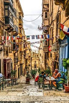 Malta, Island, Mediterranean, Sidewalk, Alley, Street
