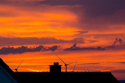 Wind Power, Pinwheel, Afterglow, Roofs, Chimney, Sunset