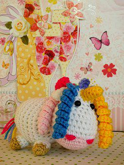 Unicorn, Knit, Wool, Fabric, Stuffed Animal, Hand Labor