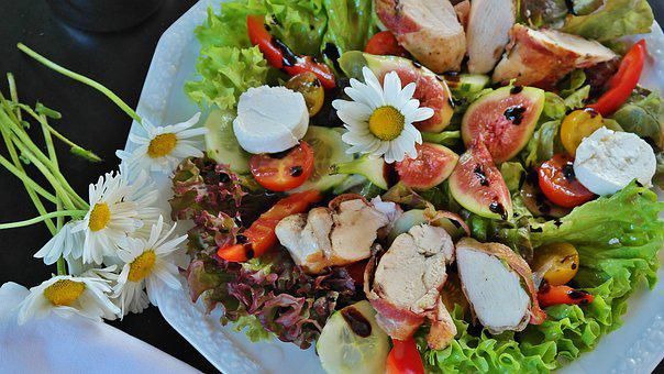 Salad, Mixed Salad, Chicken, Chicken Breast, Bacon