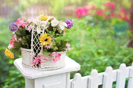 Flower Basket, Flowers, Blooms, Blossoms, Fence Post