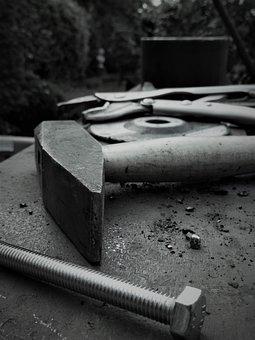 Hammer, Screw, Steel, Tool, Metal, Workshop, Work Bench