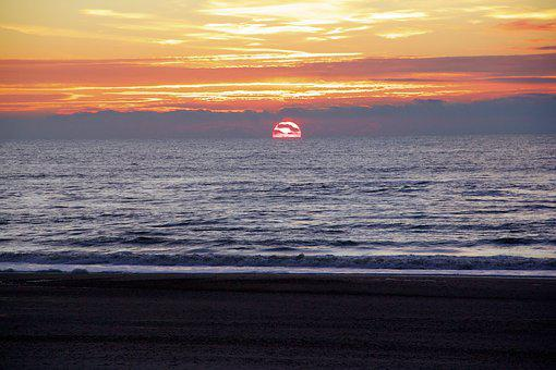 Sun, Sea, Sunset, Beach, Evening Sky, Spray, Wave