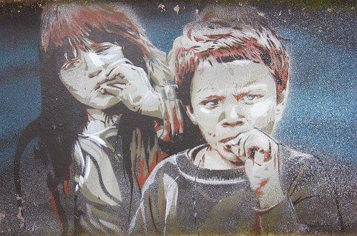 Graffiti, Street Art, Berlin, Young Girl, Facade, Art