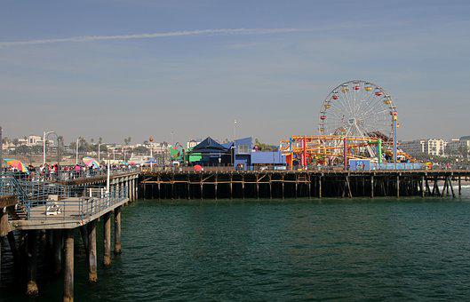 California, Pier, Santa Monica, Beach, Tourism, Usa