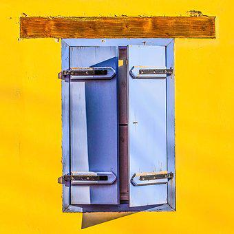 Window, Wooden, Blue, Wall, Yellow, Colors, Pop Art