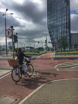 Office, Woman, Business, Poznan, City, Bike, Travel