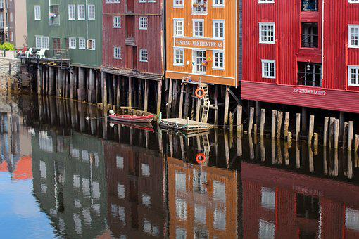 Homes, Colorful, Color, Reflect, Mirroring, Reflection