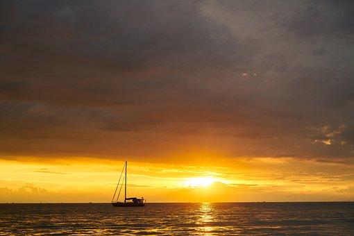 Landscape, Sunset, Clouds, Sky, Nature, Marine, Peace