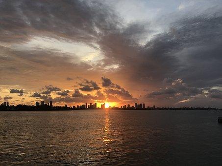 Miami, Brickell, Bay, Sunset, Downtown, City, Florida