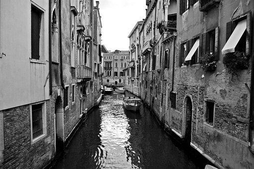 Venice, Black And White, Channel, Great Channel, Bridge