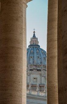 Rome, Vatican, Columns, Dome, Cathedral, Basilica