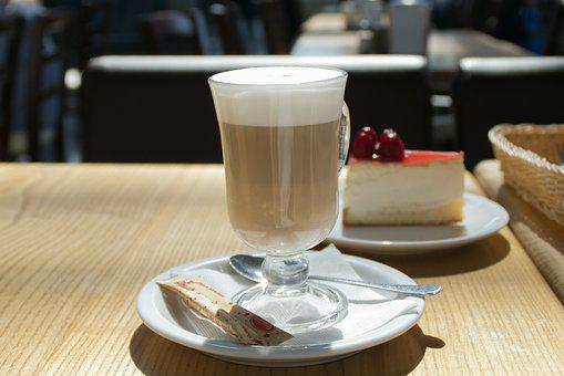 Coffee, Latte, Food, Drink, Beverage, Cake, Morning