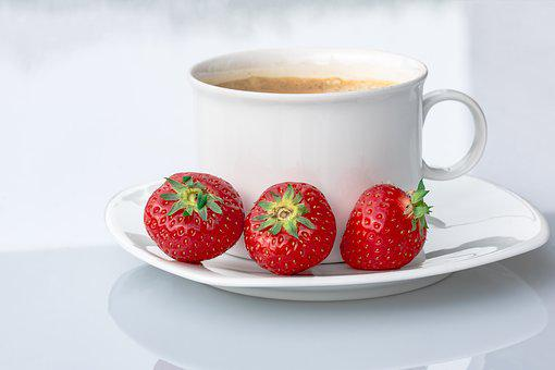Strawberries, Coffee Cup, Coffee, Cup, Small Break